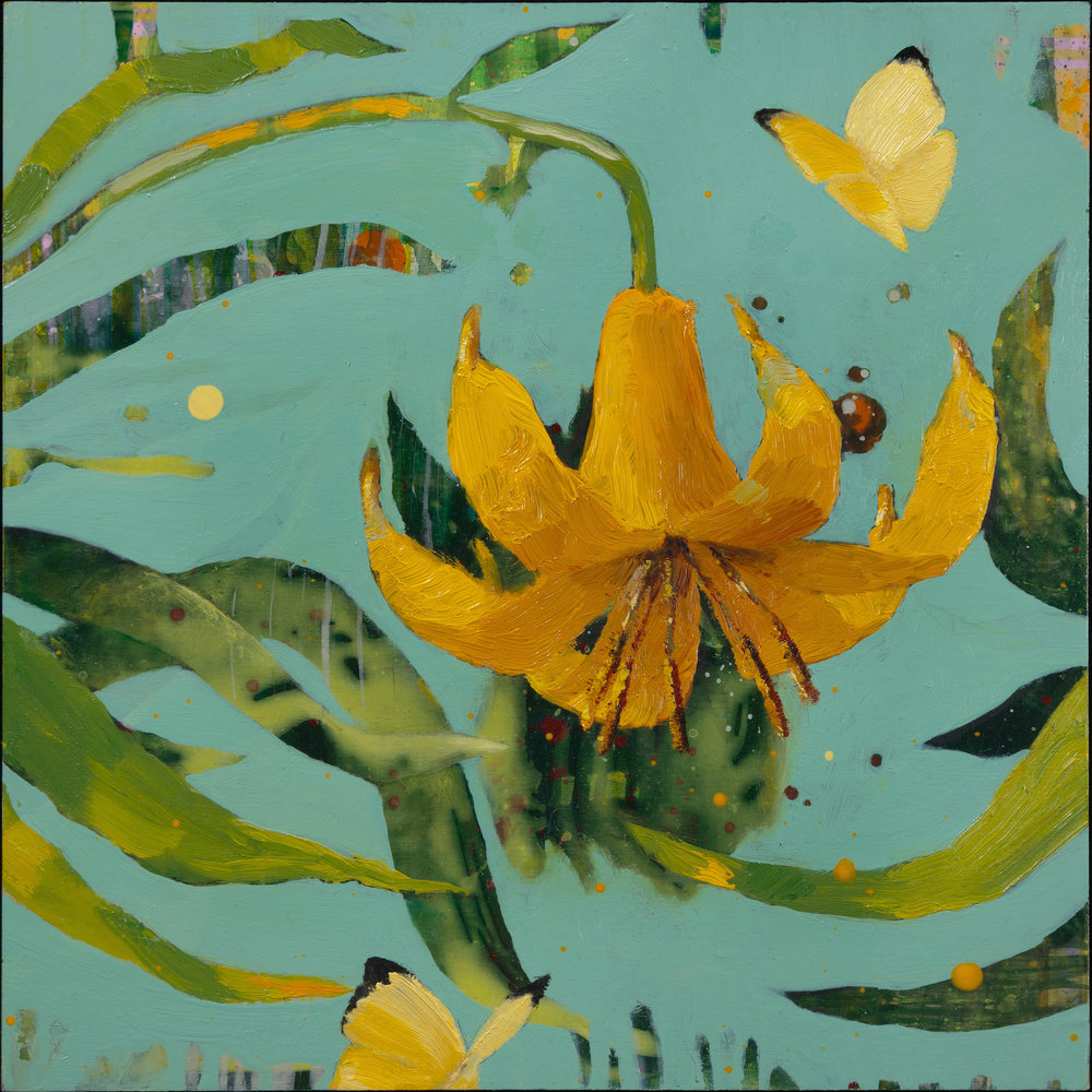 "Anne Sargent Walker,   Yellow Butterflies and Lily,   Oil, acrylic on wood panel, 8"" x 8"""