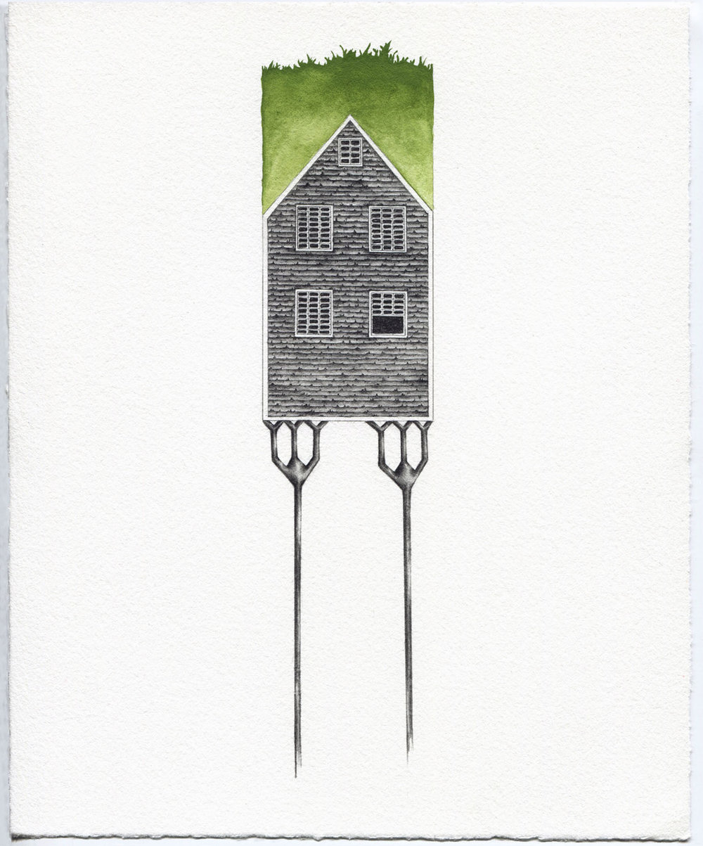 "Grass, Still , graphite and gouache,8"" x 10"""