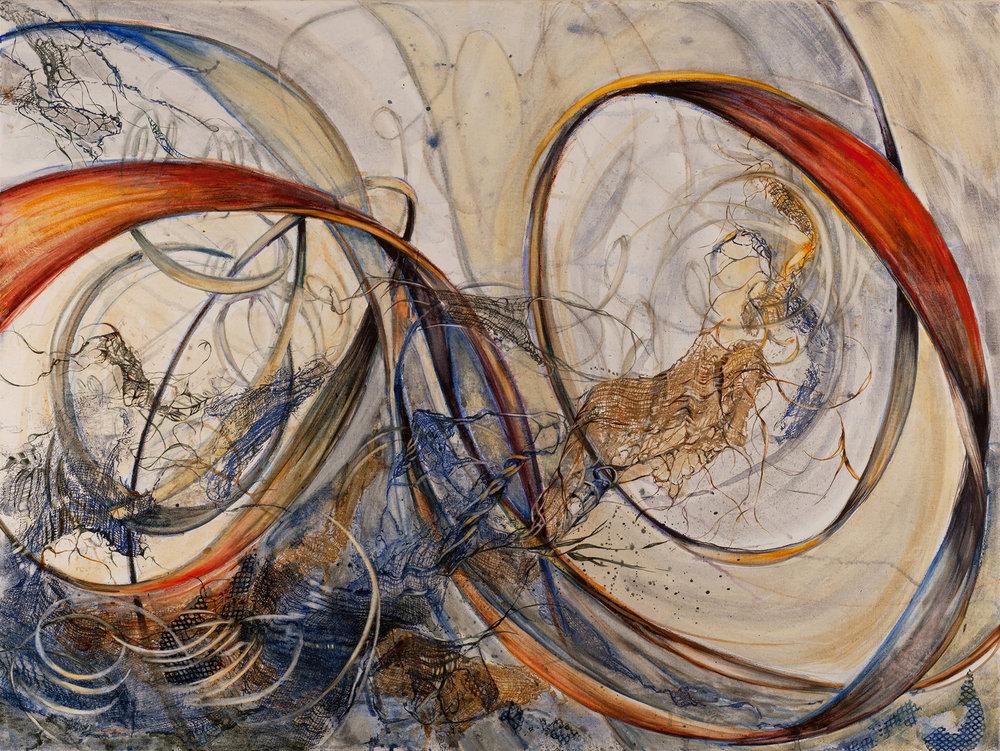 Oscillate , watercolor lon canvas, 40x30