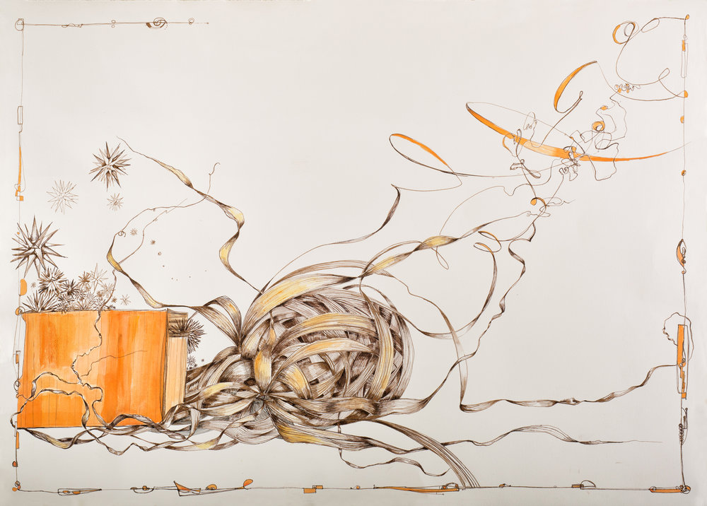 Sarah Alexander,  Impulsive , Walnut ink and watercolor on paper, 45x31, $1,300