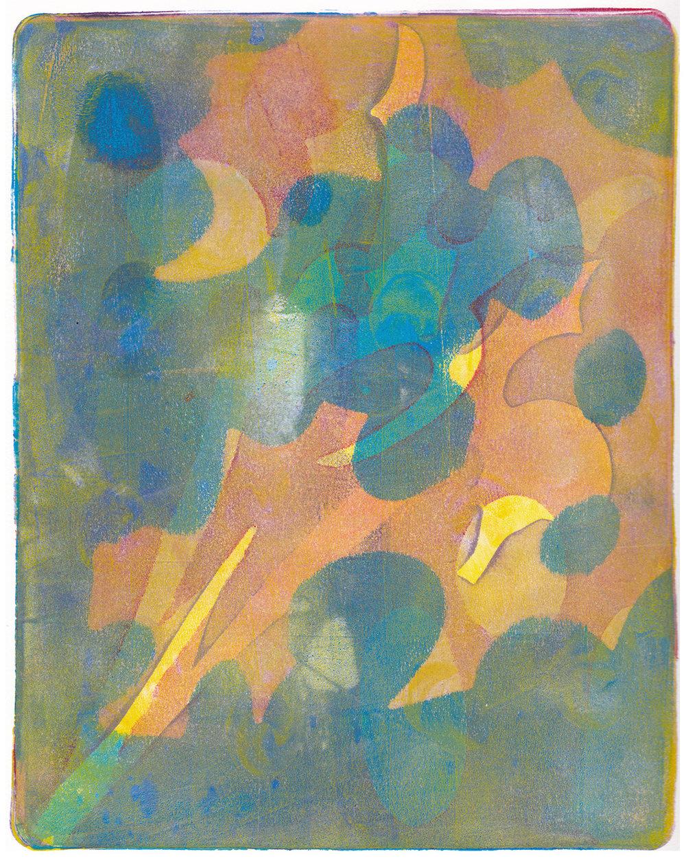 Monica DeSalvo,  Sun Shadow , Gelatin monoprint with acrylic, 12x16, $450