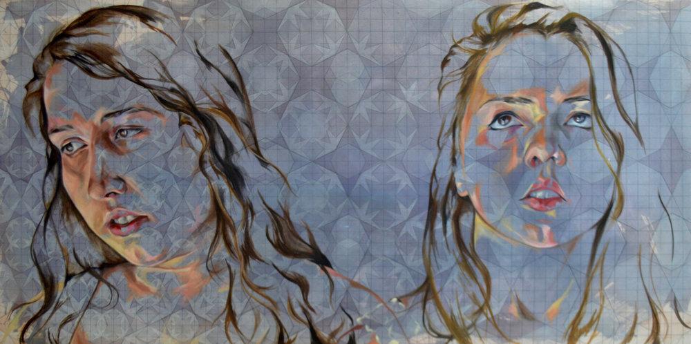 Mahala Sacra,  Hannah and Madelene , Oil on canvas, 60x30, $1,000