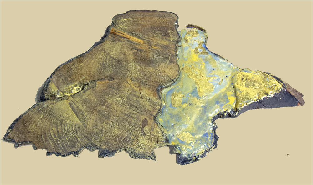 Catherine Weber,  Filling the Gaps 2 , Wood, encaustic, gold leaf and gold pigment, 16x24x3, $400