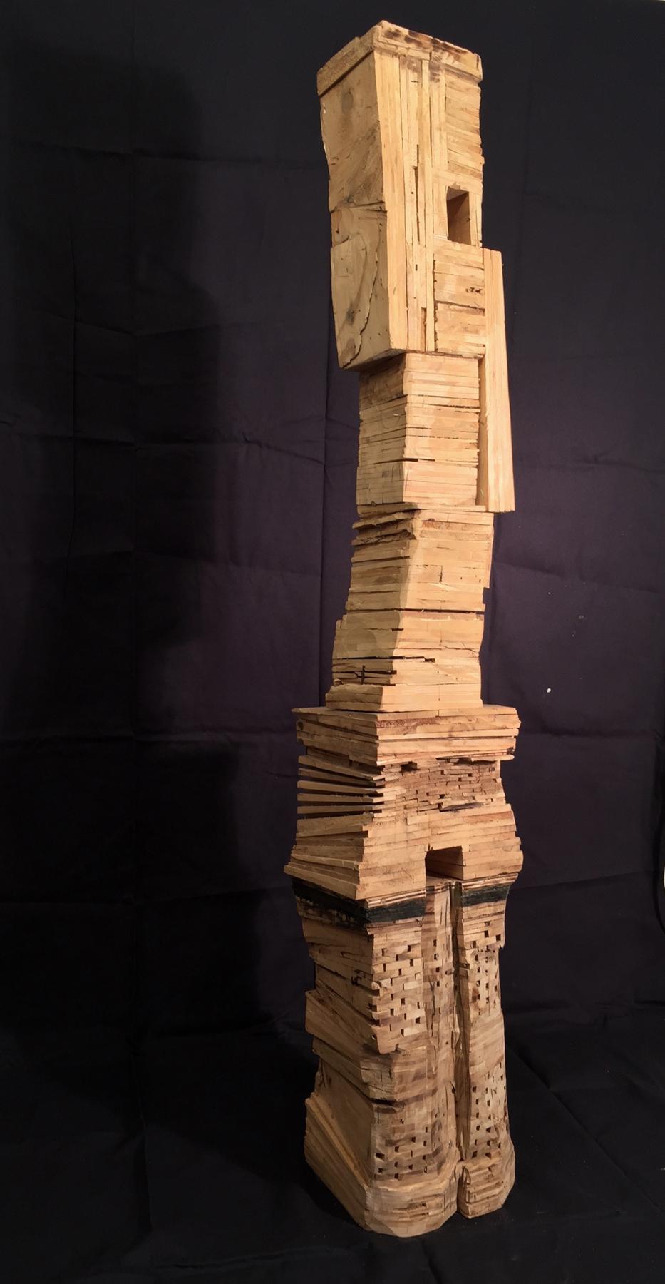 Leslie Zelamsky,  Time's Up , Wood, asphalt, 18x18x72