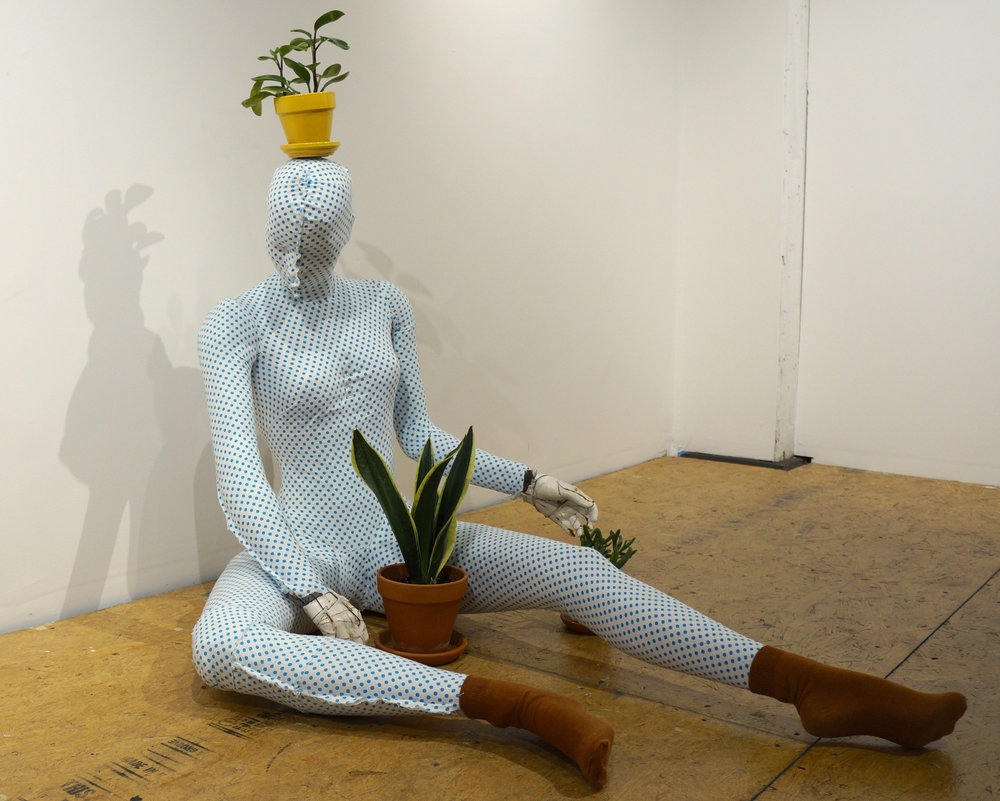 Practical Plant Lady , fabric, mannequin, cardboard, plaster, socks, plants, lifesize