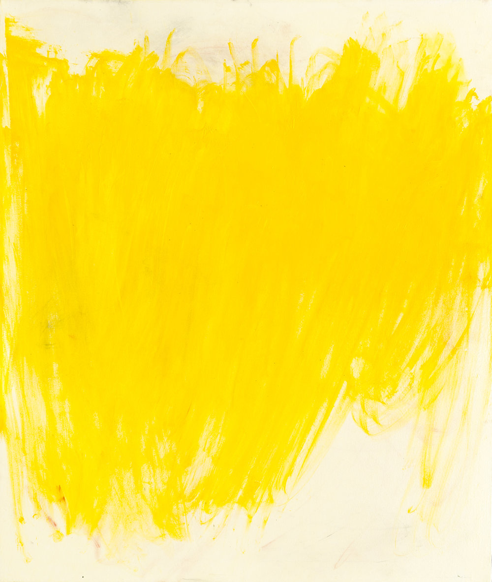 Joseph Fontinha,  Painting Cliche #2 , cadmium yellow applied with fiberglass insulation, 52x44