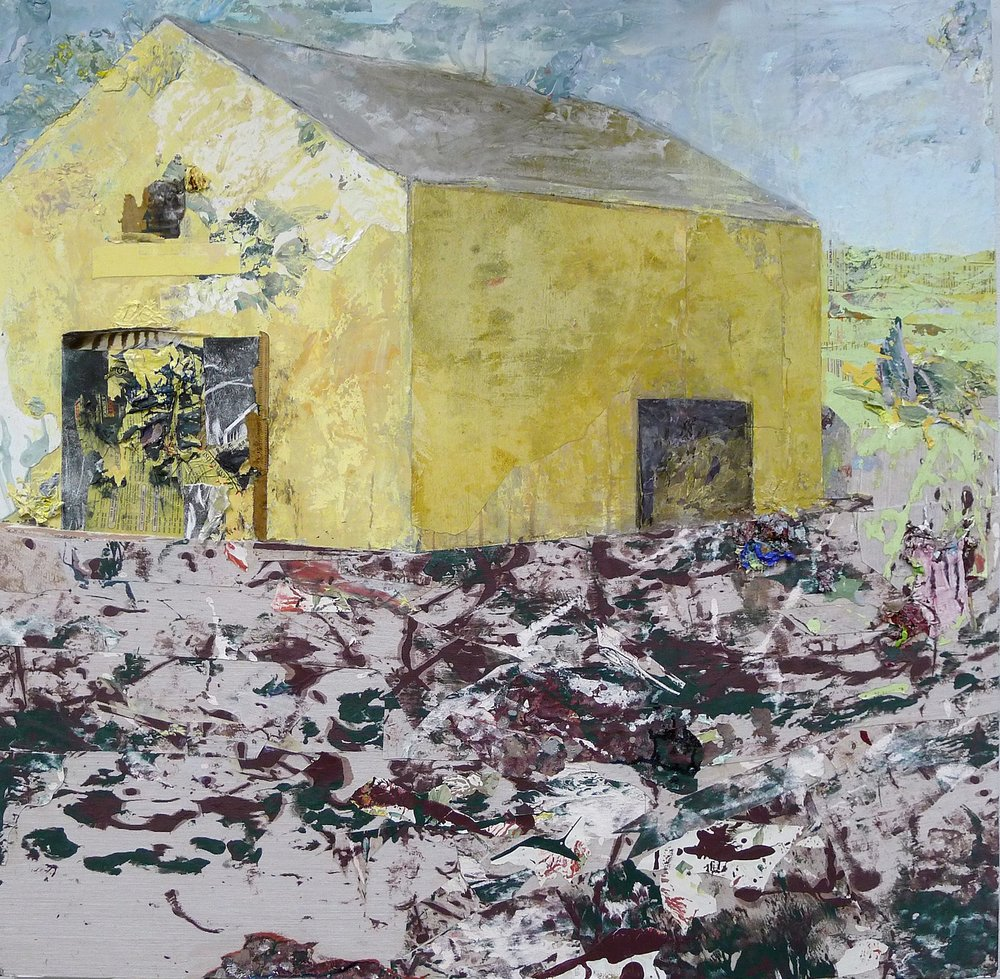 Brenda Cirioni,  Barn Series: Crow , mixed media painting, 40x40