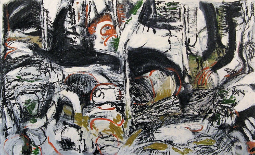 Iris Osterman,  Sticks and Stones 1 , Oil on Canvas, 30x50, $1,400