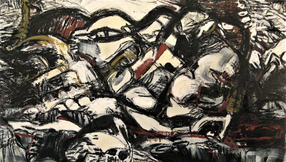 Iris Osterman,  Sticks and Stones 3 , Oil on canvas, 28x48,  $1,200