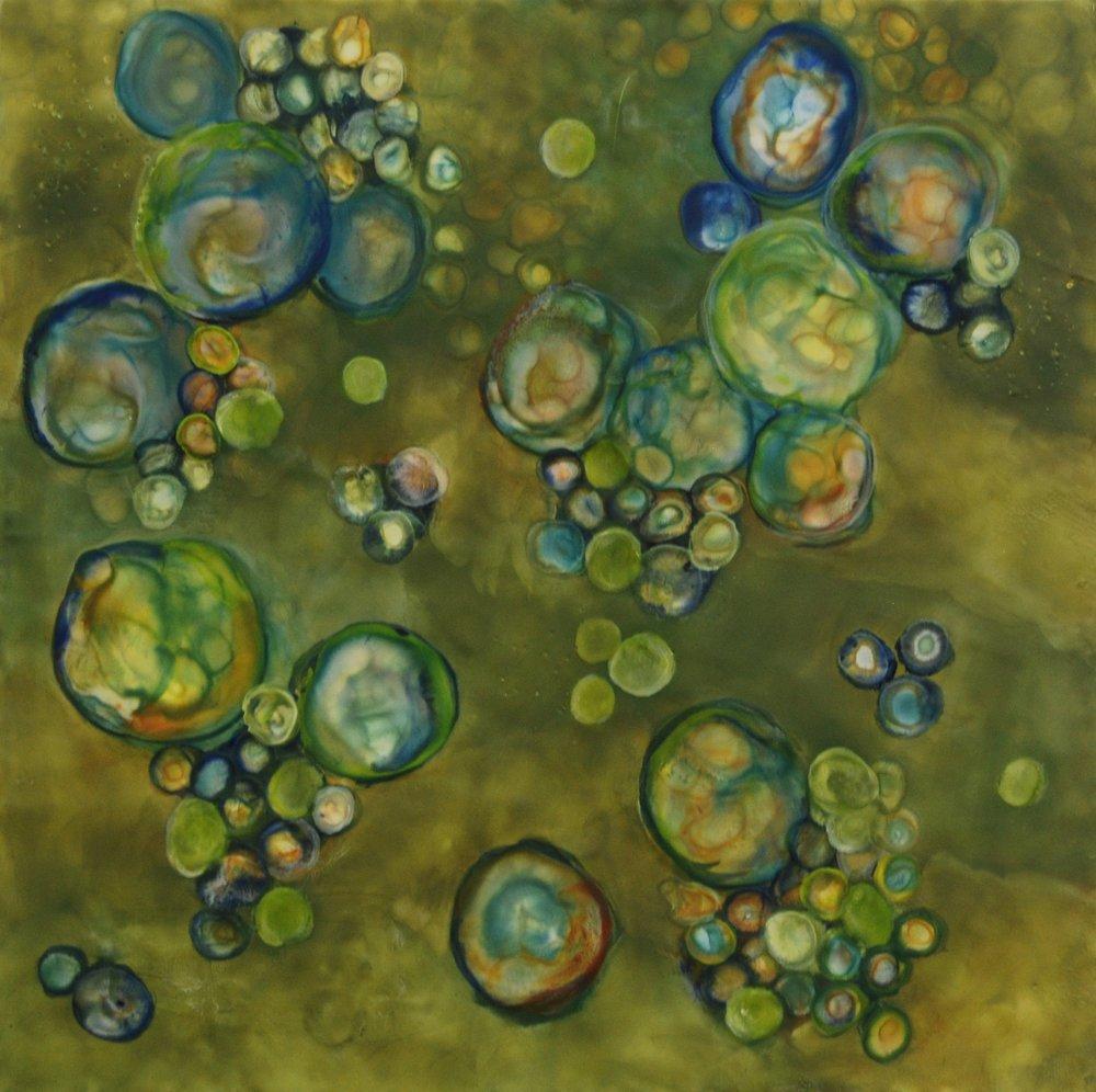 K. Hartung,  Bio Flow 8 , encaustic and mixed media, 24x24, $2,000