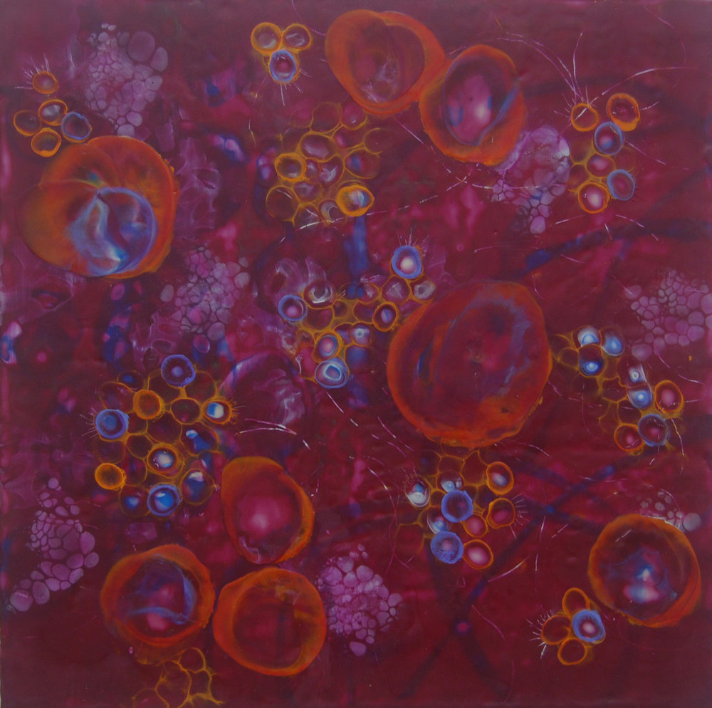 K. Hartung,  Bio Layers 1 , encaustic and mixed media, 24x24