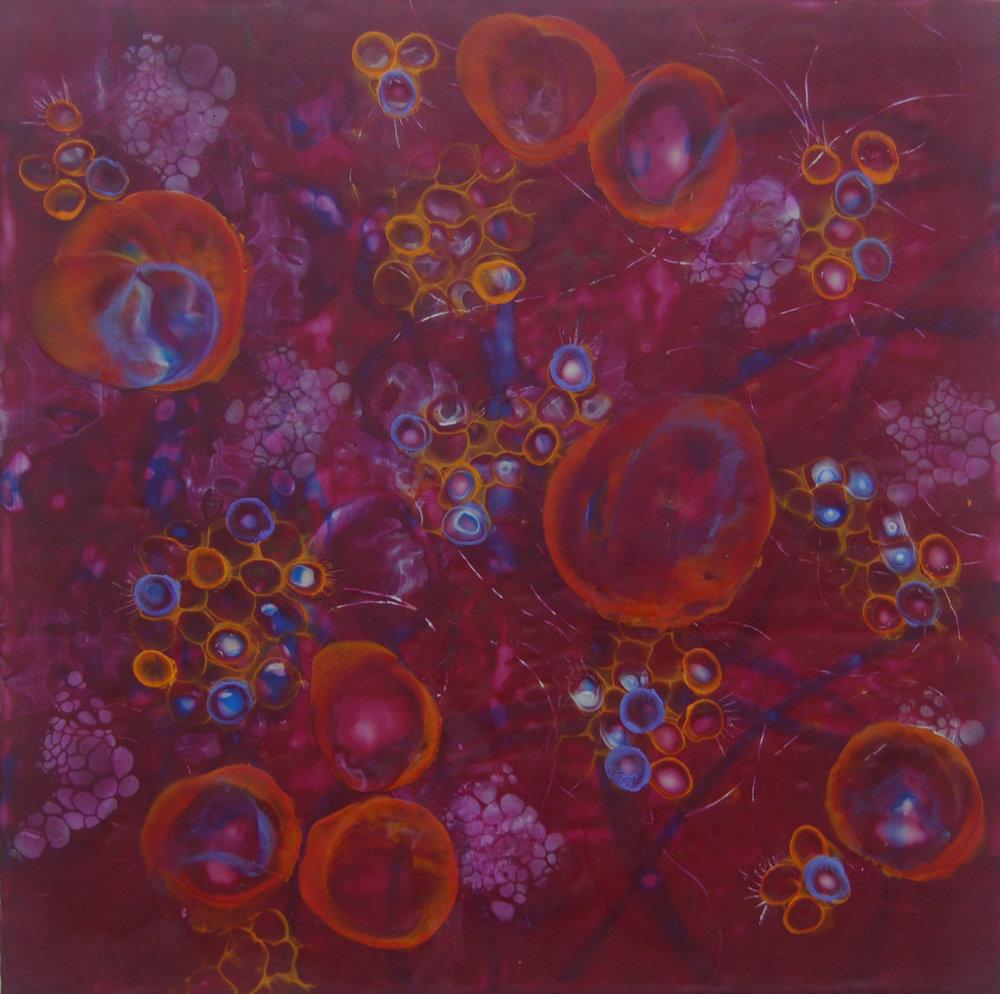 K. Hartung,  Bio Layers 1 , encaustic and mixed media, 24x24, $2,000