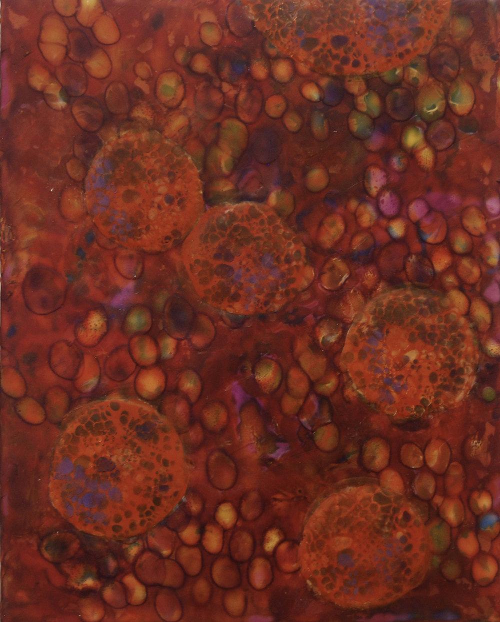 K. Hartung,  Bio Layers 3 , encaustic and mixed media, 16x20, $1,000