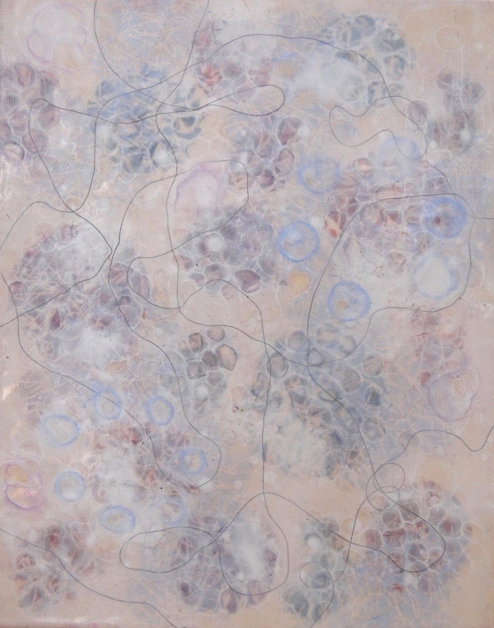 K. Hartung,  Bio Shadows 4 , encaustic and mixed media, 20x16, $1,200