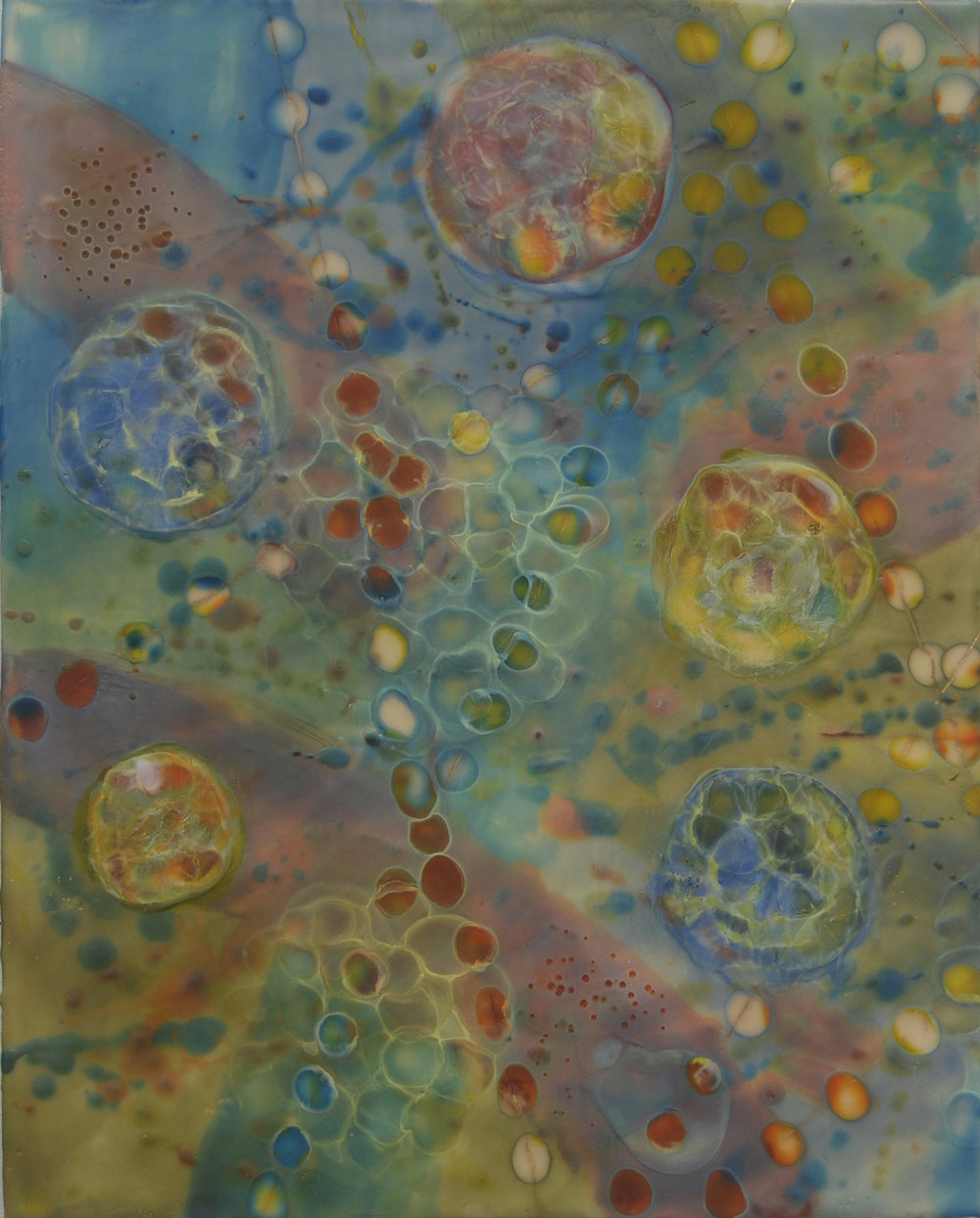 K. Hartung,  Cell Migration 8 , encaustic and mixed media, 16x20