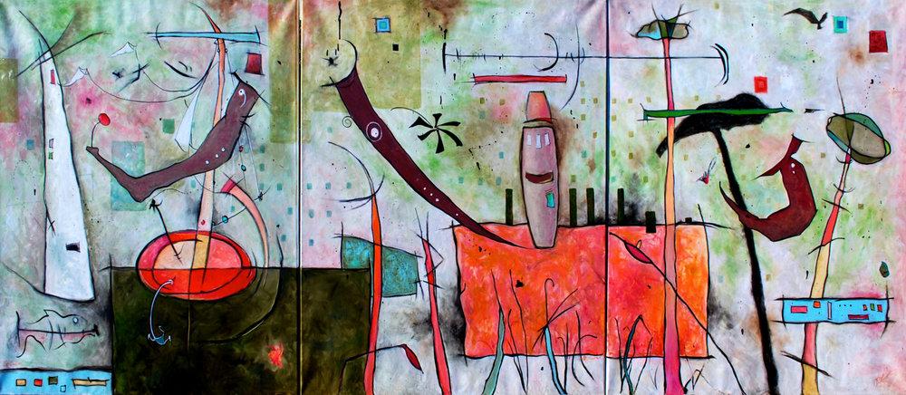 """Air Land Sea:  Oil on Canvas, 120""""x 50"""" triptych (40x50"""" each), $6000"""