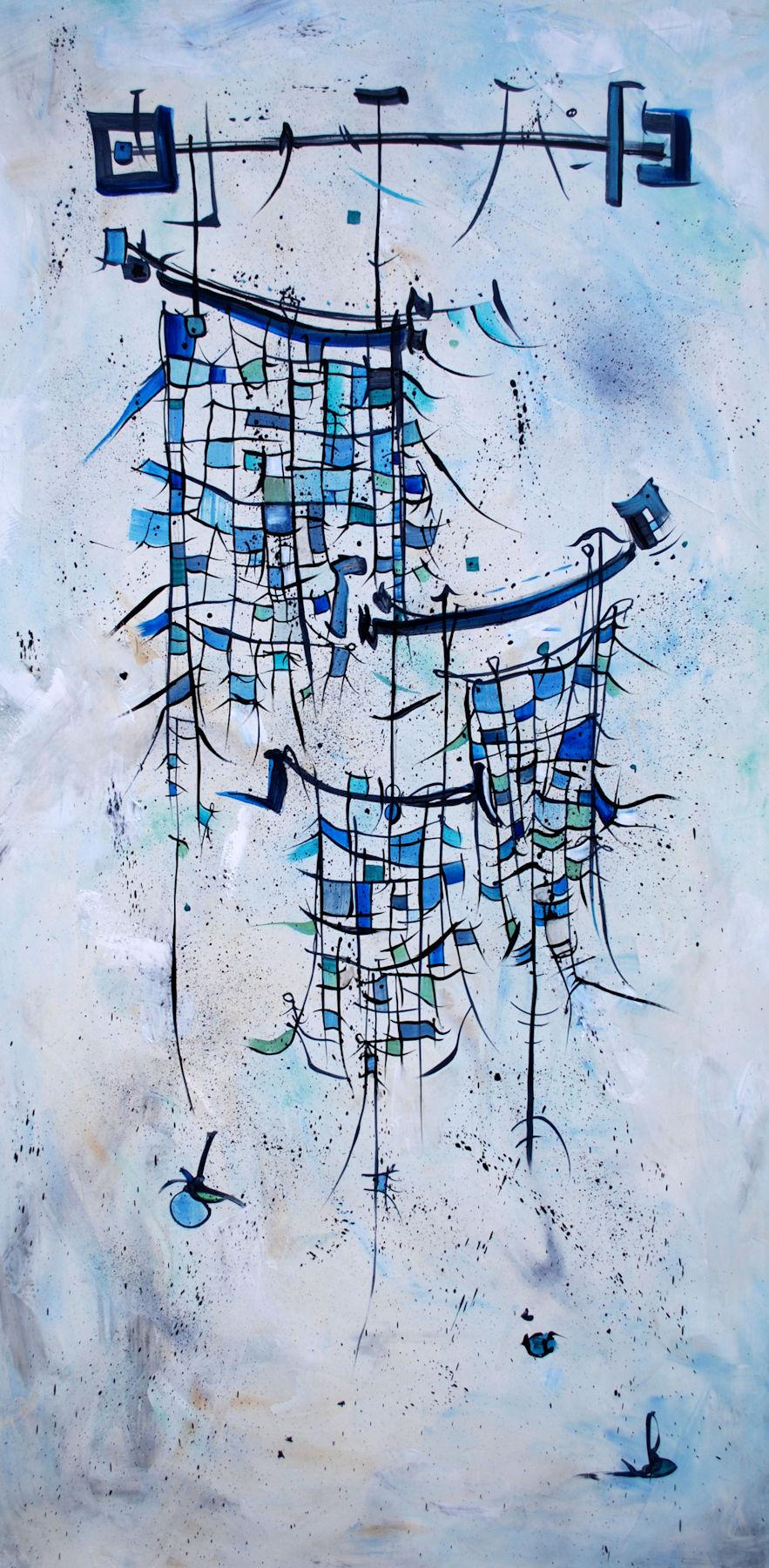 "Blues  : Oil on Canvas, 30 x 60"", $3000"