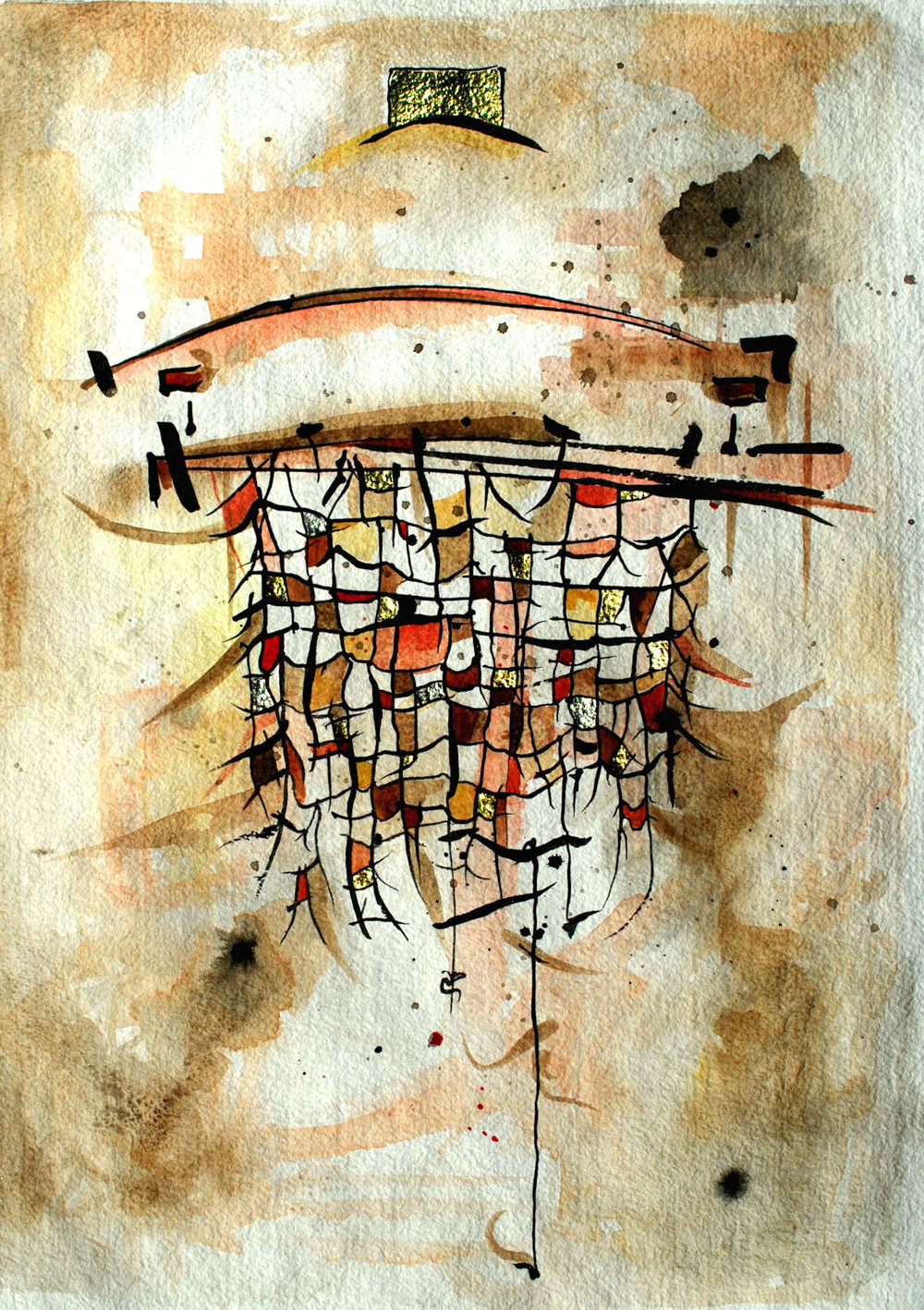 """Catch Net:  Watercolor, Ink & gilding on paper , 22x30"""""""