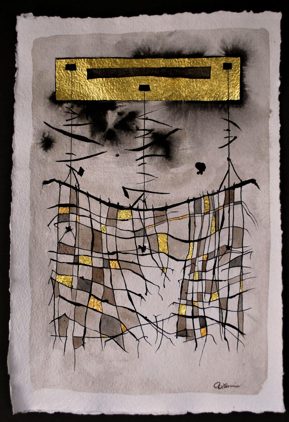 "Gold Veil:  Watercolor, Ink & Gilding, 22x30"", $500"