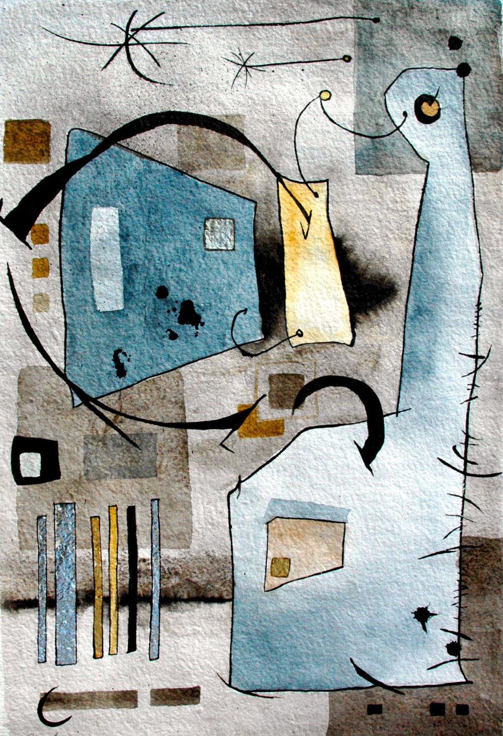"Girl Walking a Cat:  Watercolor, Ink & Gilding, 22x30"" $700"