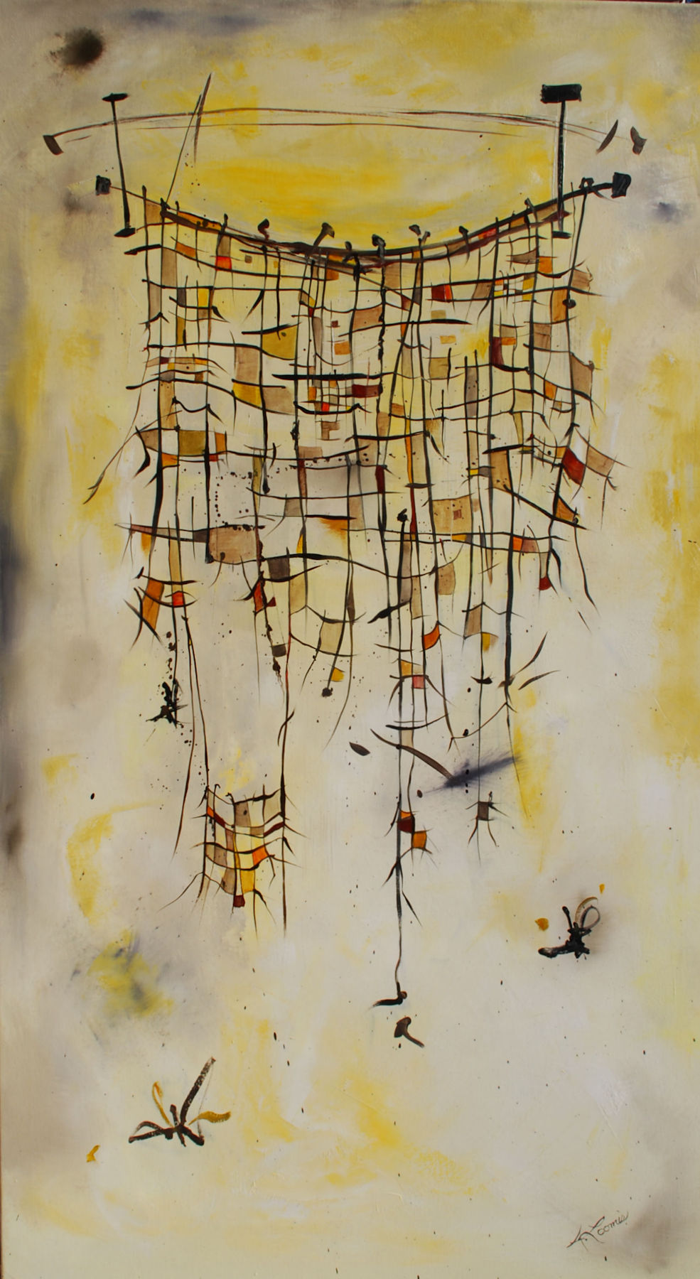 """Mesh Yellow:  Oil on Canvas, 30 x 60"""", $3500"""
