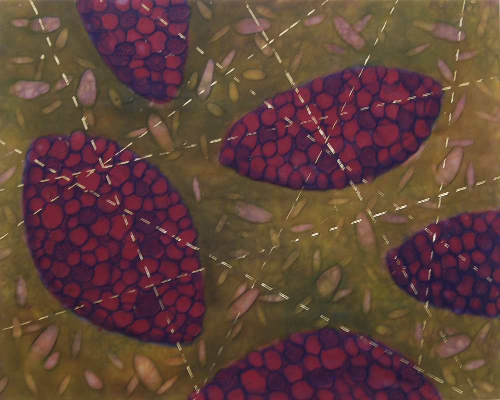 K. Hartung,  Cell Migration 7 , encaustic & mixed media, 16 x 20, $1,000