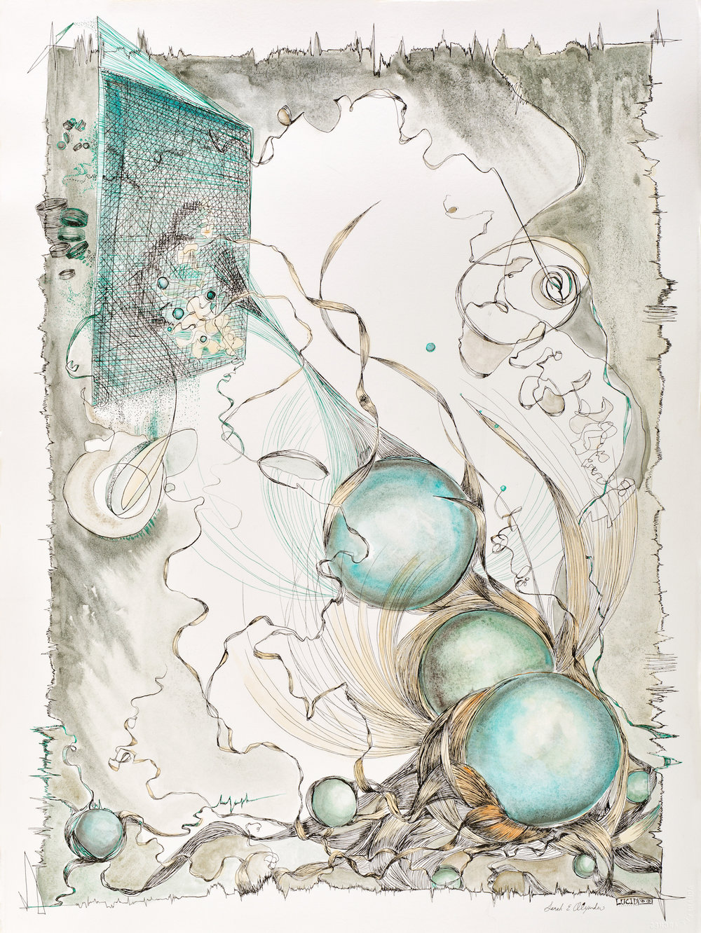 """Sarah Alexander, Just Passing Through , 22""""x30"""", Ink and Watercolor on Paper, $3,000"""