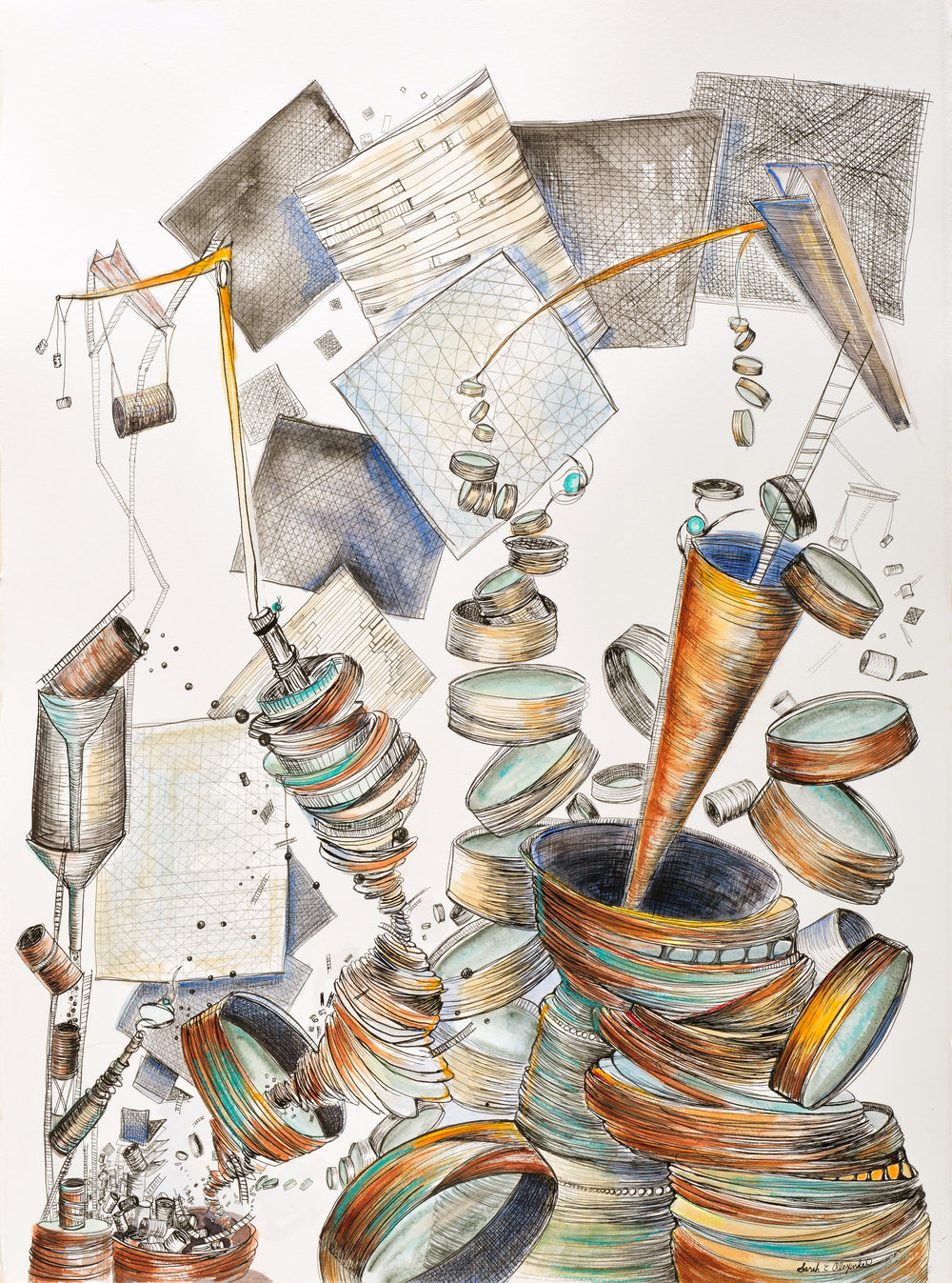 "Sarah Alexander,  Ascent , 22""x30"", Ink and Watercolor on Paper"