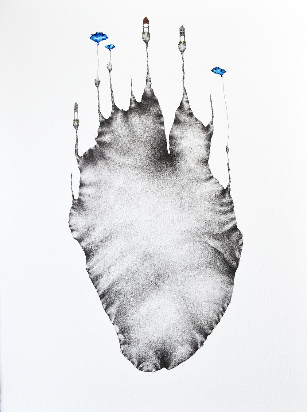 "Tatiana Flis,  Apogee's Horizon , 22""x30"", Graphite and Gouache on Paper"
