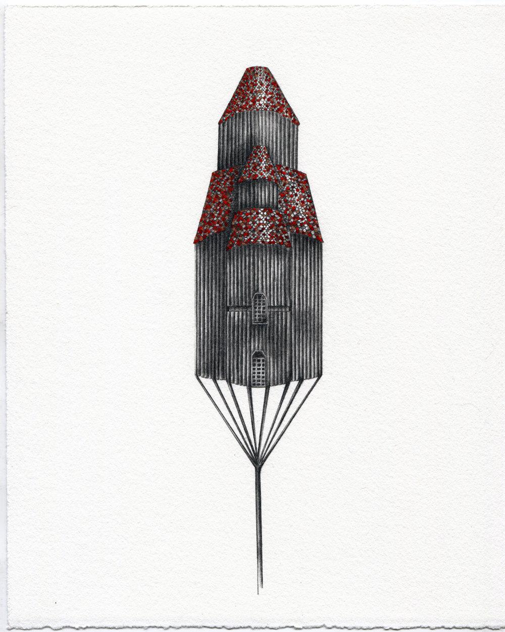 """Tatiana Flis, Apotheosis reCalibration , 8""""x10"""", Graphite and Gouache on Paper, $800"""
