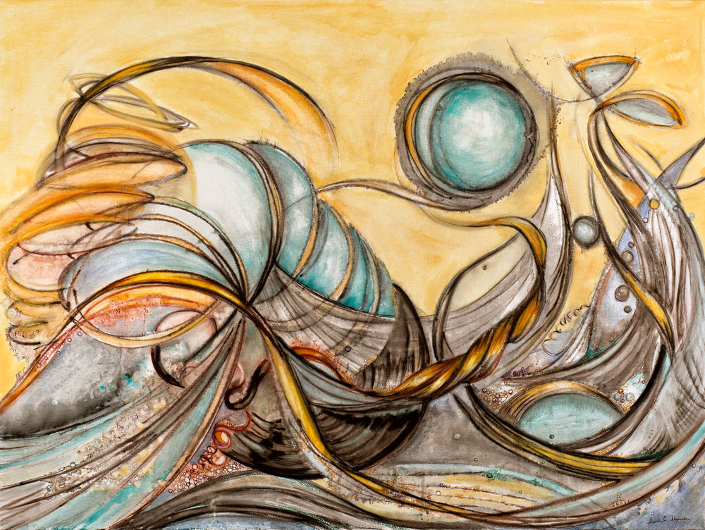 "Sarah Alexander,  Turbulence , 30""x40"", Drawing Ink and Watercolor on Canvas"