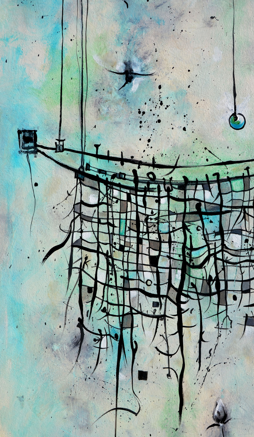 Aqua Mesh  detail . A series of paintings that center around the communication and relationship theme are the Mesh series of abstract oil paintings. Evolving from a  fishers of men  theme, the net serves as a symbol for relationships and the way communication lines and networks connect or break in our society, representative of the bonds we all share.
