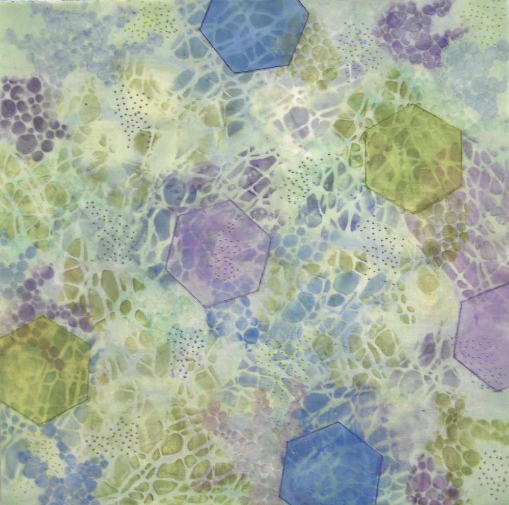 Kay Hartung,  Bio Patterns 1 , encaustic and mixed media, 20x20