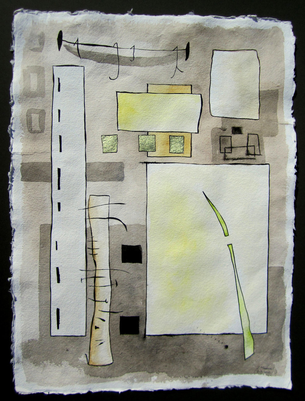 Anita Loomis,  Building 1010,  Watercolor, ink and gilding, 30x20