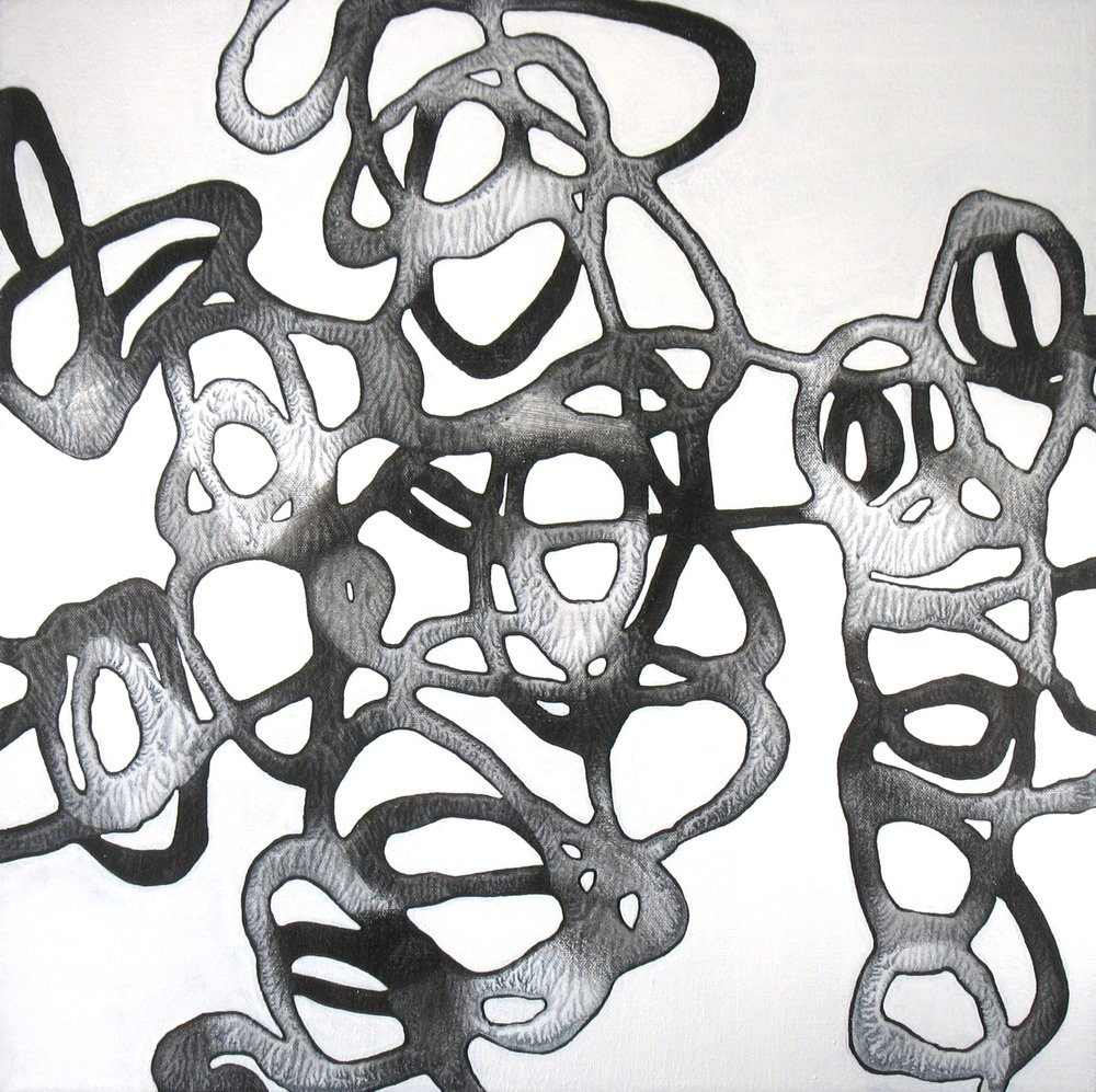 Catherine Carter,  Onyx Tendrils 1 , Acrylic on canvas, 20x20