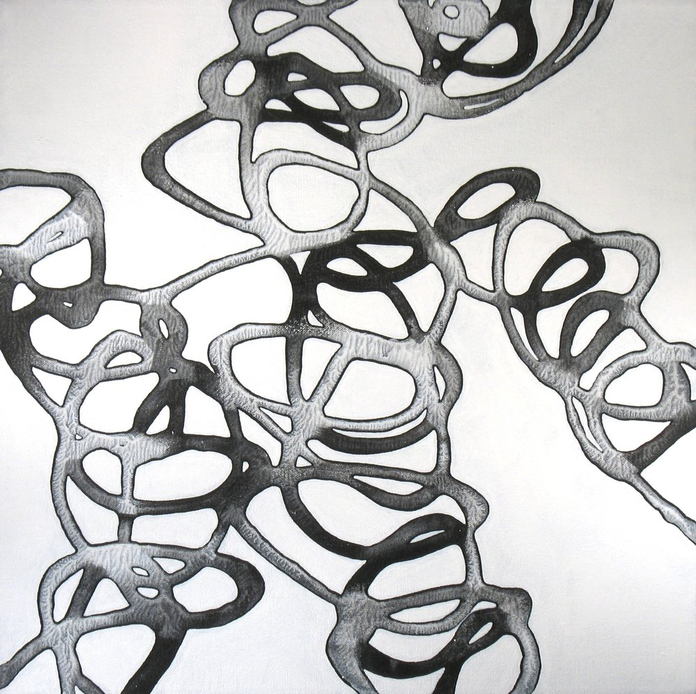 Catherine Carter,  Onyx Tendrils 3 , Acrylic on canvas, 20x20