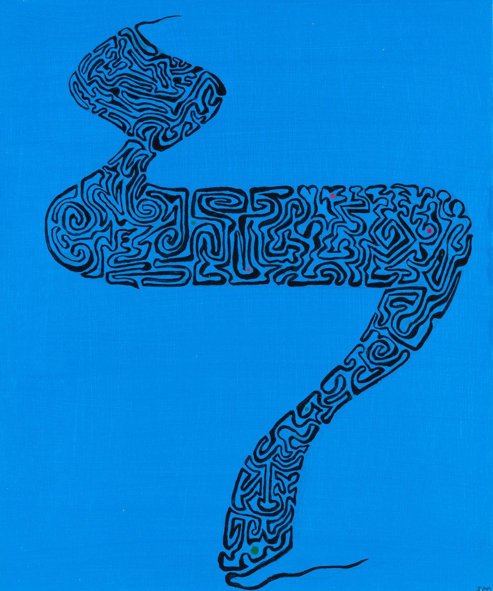 Joel Moskowitz,  Hebrew   Lamed,  Acrylic on wood panel, 10x10