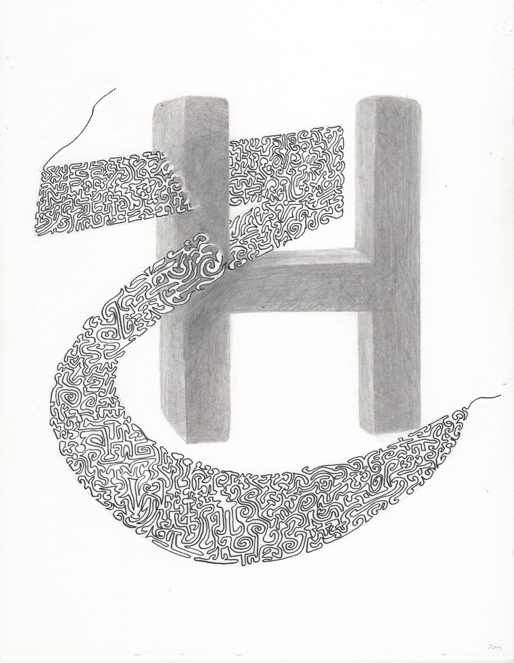 Joel Moskowitz,  Arabic  Haa,  with H,  Ink and pencil on paper, 11x9
