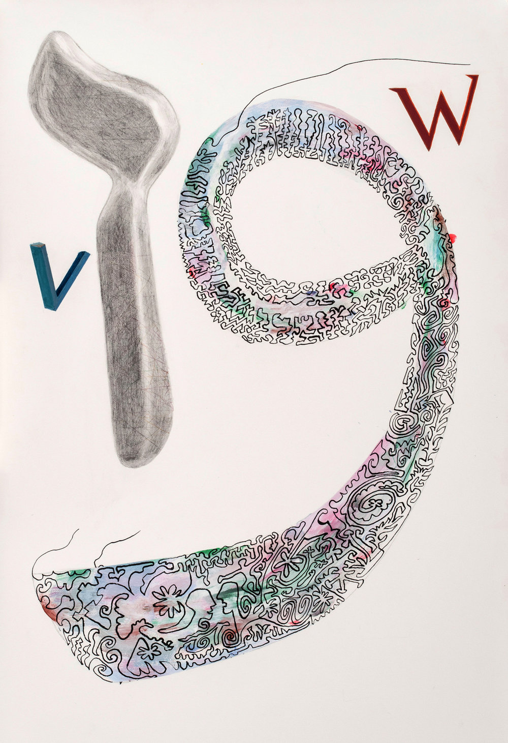 Joel Moskowitz,  Arabic  Waaw  and Hebrew  Vav , with W and V,  Mixed media on paper, 22x15
