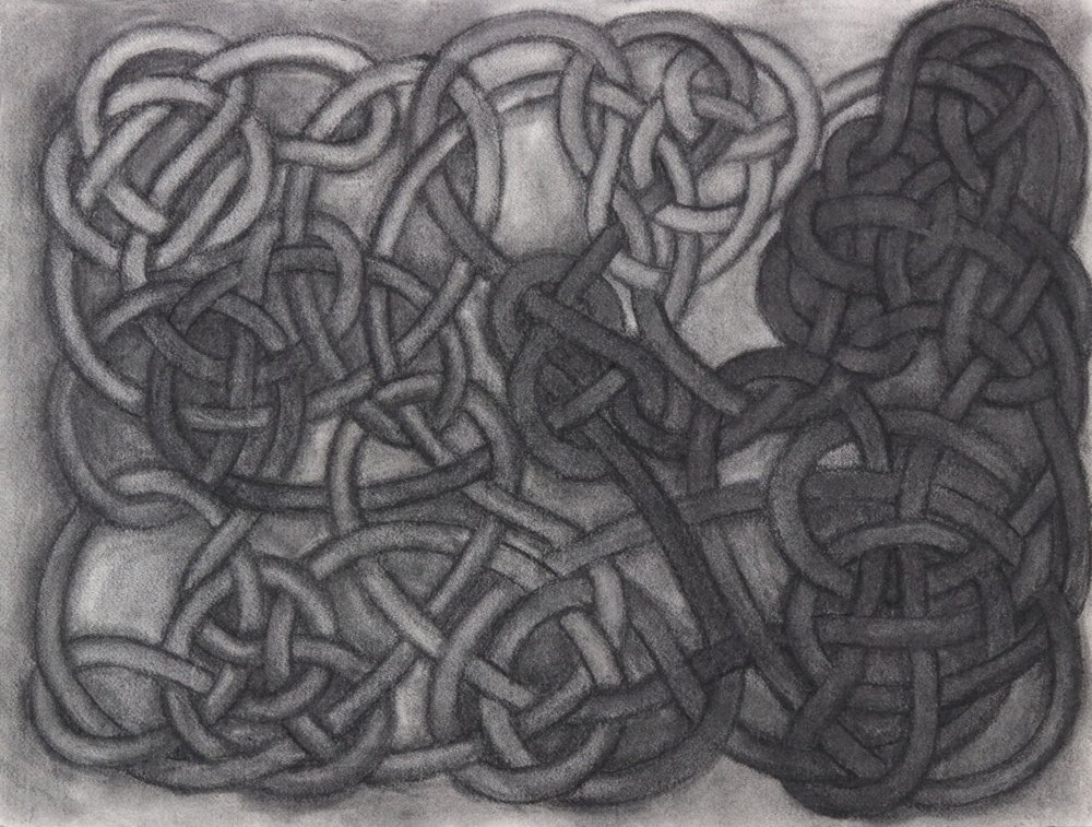 Jim Banks,  Tangle #70 , Vine charcoal on paper, 18x24