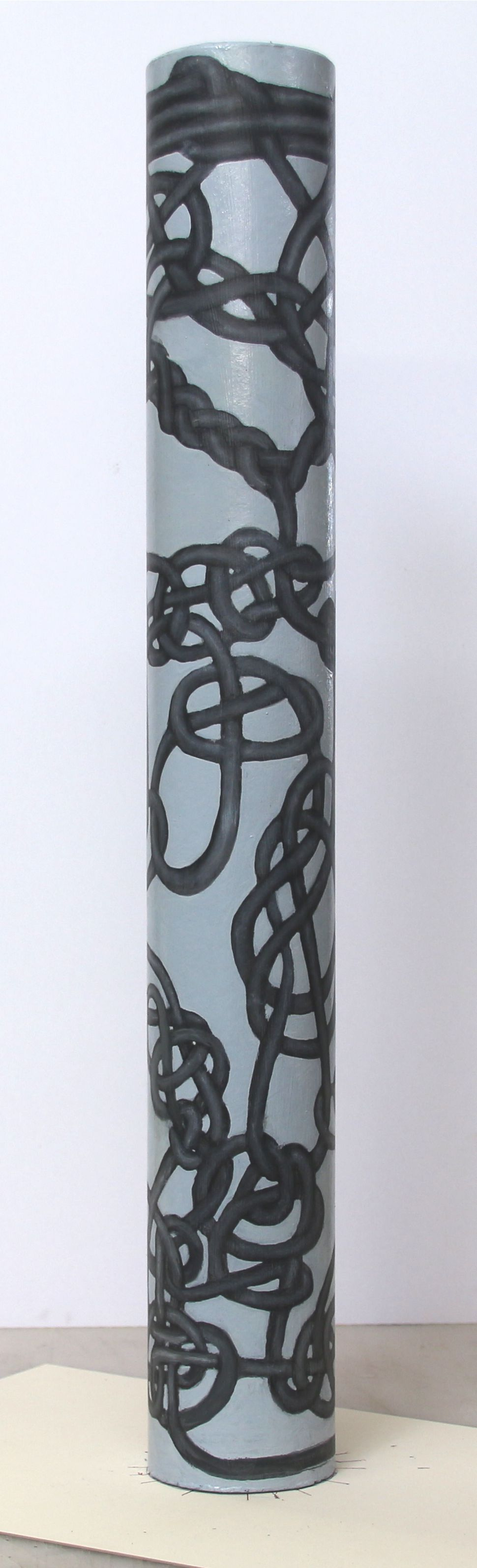 Jim Banks,  Tube knot #1,   Charcoal and oil on cardboard tube, 24x3