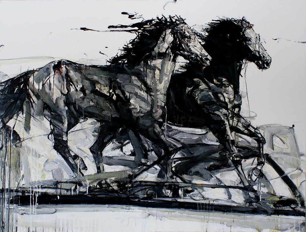 "Black Stallions , Oil on Canvas, 36"" x 48"""