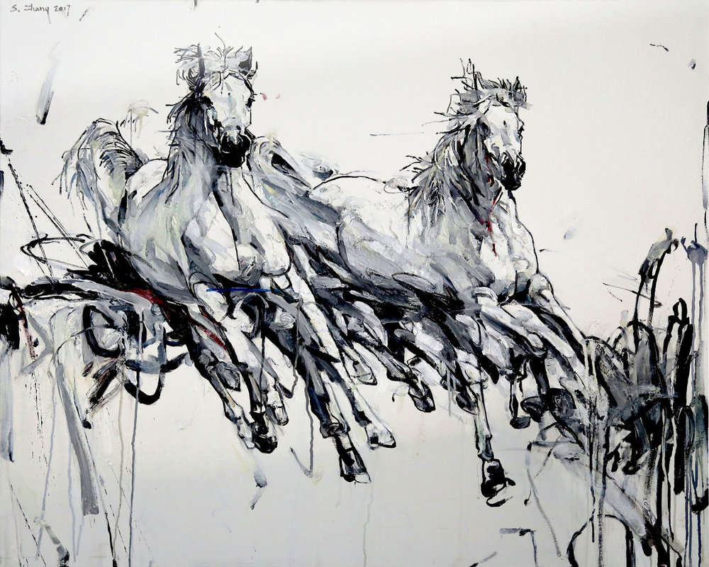 "White Stallions , Oil on Canvas, 37"" x 46.25"""
