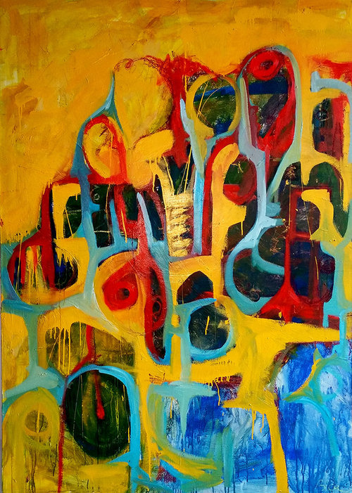 """There's More to this than Meets the Eye, oil and enamel on canvas, 68"""" x 50"""""""