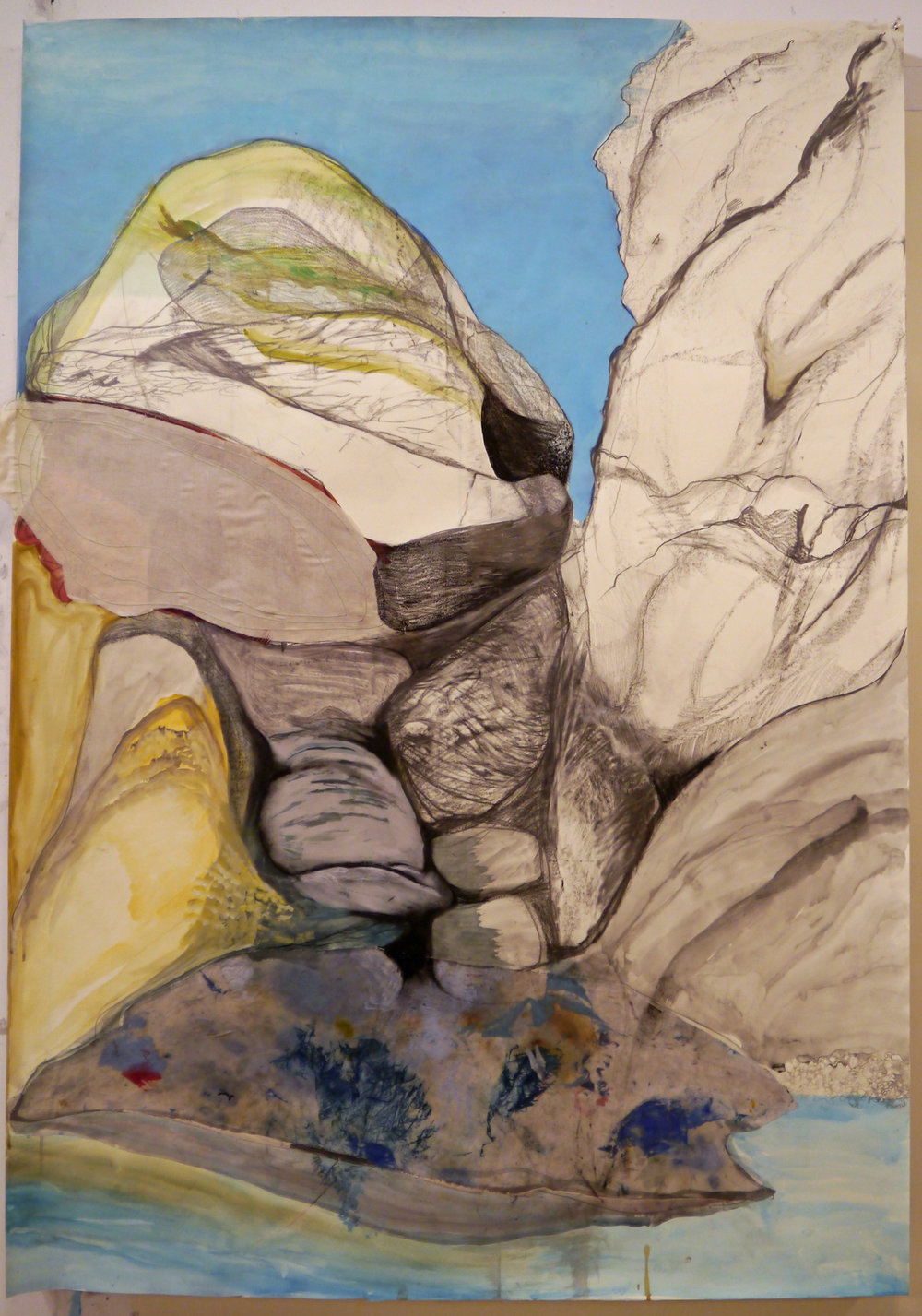 """Rock Dreaming of Rocks, Acrylic, graphite and stitched fabric on paper, 60"""" x 42"""""""