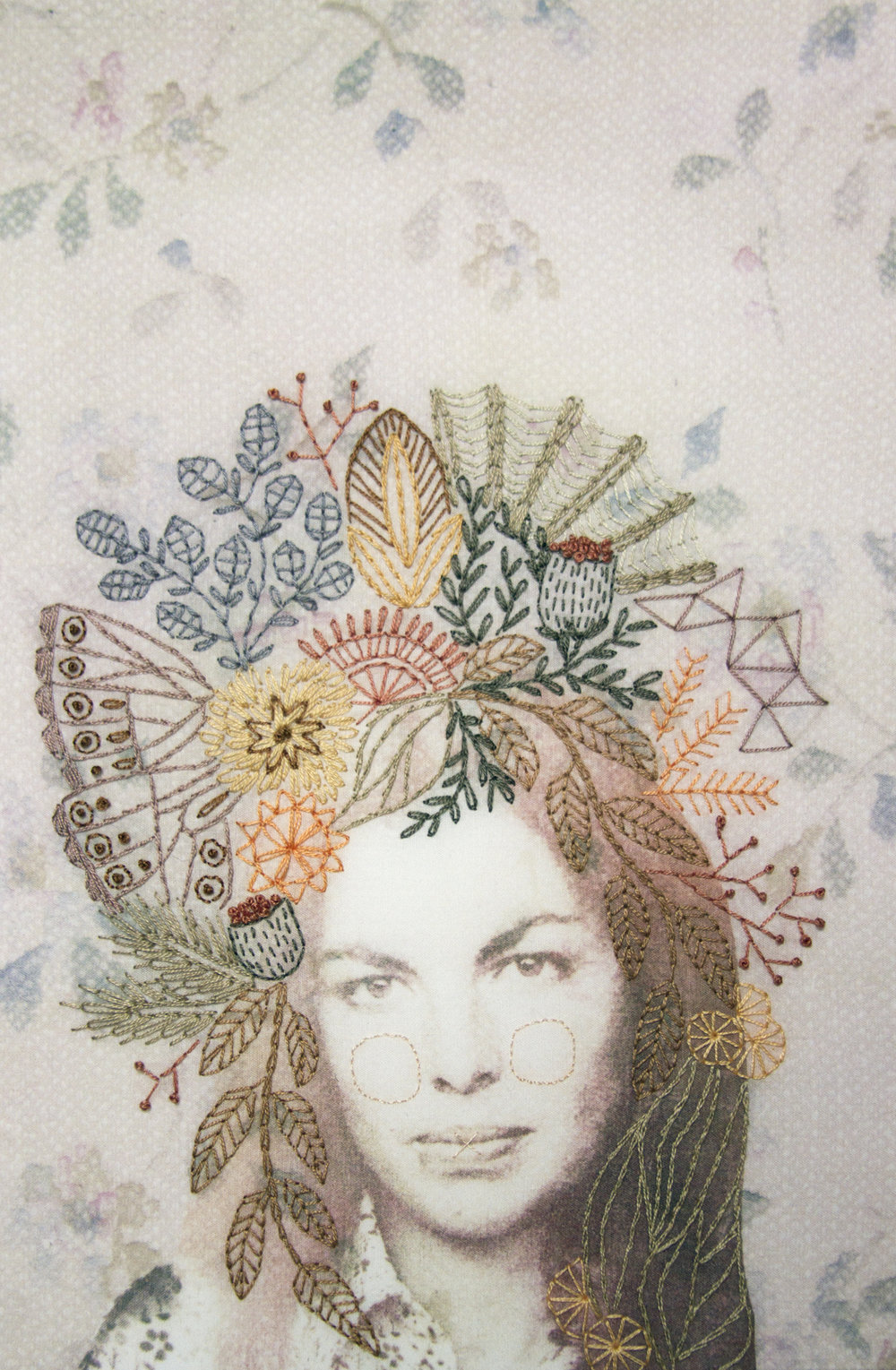 "Audra, Fabric, inkjet dye‑based ink, embroidery floss, 13"" x 9"" x 1.5"""
