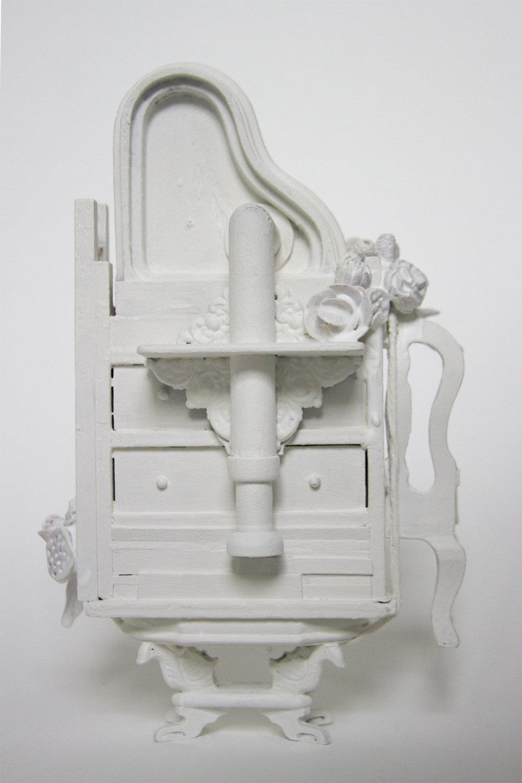 "Flight of Fancy, Dollhouse furniture, latex paint, sculpy, encaustic,8.25"" x 5"" x 3"""
