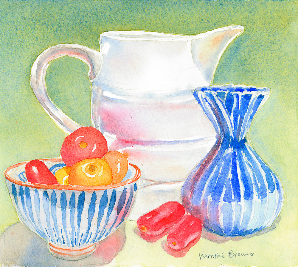 Breines-Pitcher, Blue Vase, Bowl and Cherry Tomatoes.jpg