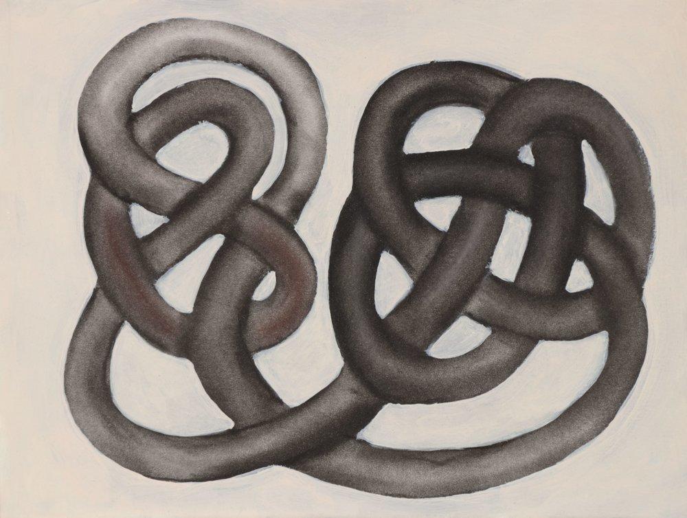 Jim Banks,  Barthian,  Charcoal and acrylic on paper, 9x12