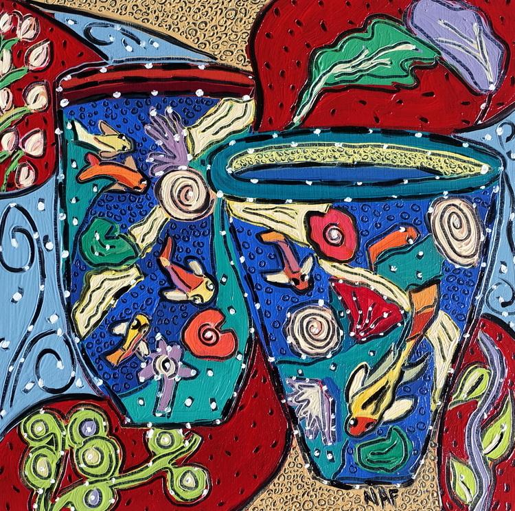 Nan Hass Feldman,  Vessels in Dreamtime 4, oil on panel, 8x8, $675